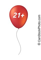 Isolated balloon with the text 21+ - Illustration of an...