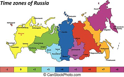Vector map of Russia with time zones 2016