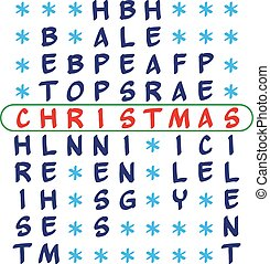 Christmas background - crossword puzzle