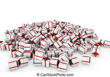 White gift boxes with red ribbon bow