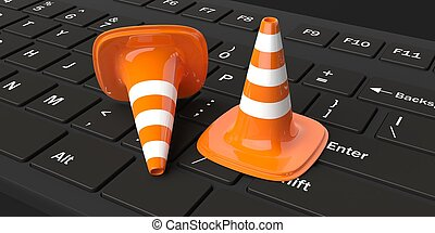 3d rendering traffic cones on a keyboard
