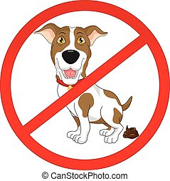 No dog pooping sign - vector illustration of No dog pooping...