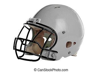 Gray Football Helmet - Football helmet isolated over white...