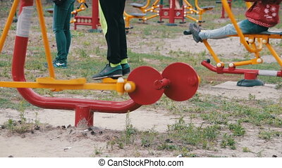 Children's Fitness Equipment on the Street. Many children...