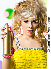 Look beautiful - Photo of hair lacquer in hand of glamorous...