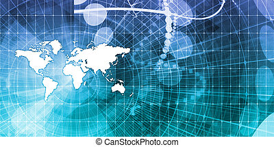Global Communications and Financial Data Sharing Concept