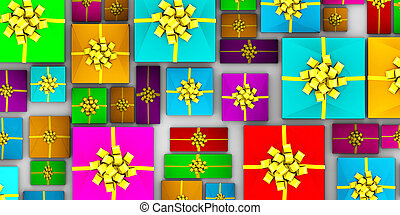 Wrapped Gifts Laid Out from a Top View