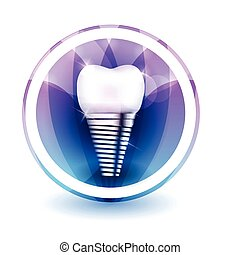 Tooth implant sign, round shape colorful overlay flower...