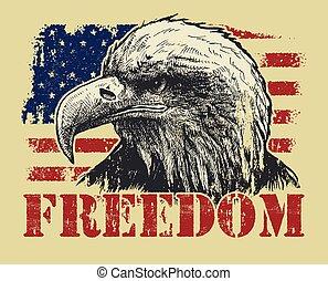 American Bald Eagle and Flag A sketchy bald eagle over an...