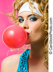 Big bubble - Portrait of gorgeous female with chewing gum...