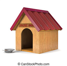 Wooden doghouse 3d illustration - Wooden doghouse and an...