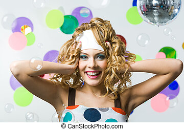 Happiness - Portrait of happy female with wavy hair-style...
