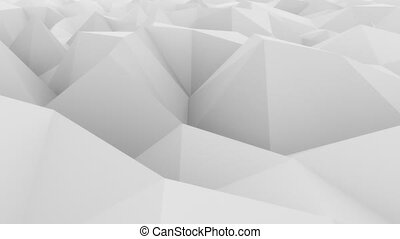 Low poly white abstract polygonal modern motion background....