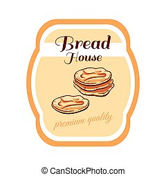 Sticker Bread House - Sticker with hand drawn bread isolated...