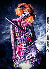 sinister girl - Evil clown murderer stained in blood. Female...