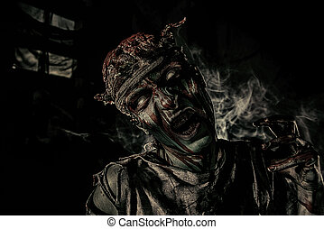night darkness - Bloody zombie man with brains out Horror...