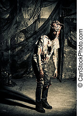 ruins on doomsday - Terrible bloody zombie man with the...