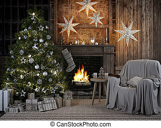 cozy christmas interior with firelace and christmastree. 3D...