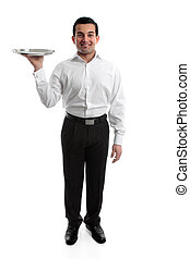 Waiter or Servant - Smiling waiter or servant holding a...