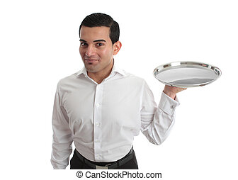 Waiter or bartender - A waiter or bartender with an empty...