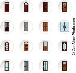 Door icons set, flat style - Door icons set. Flat...