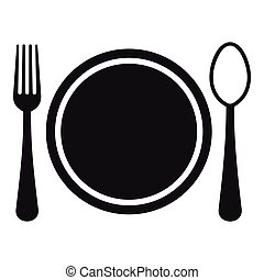 Place setting with plate,spoon and fork icon. Simple...