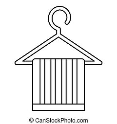 Striped scarf on a coat hanger icon, outline style