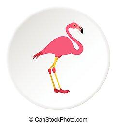 Flamingo icon, flat style - Flamingo icon. Flat illustration...