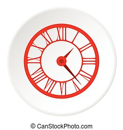 Round clock with roman numerals icon, flat style
