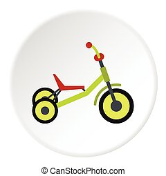 Tricycle icon, flat style