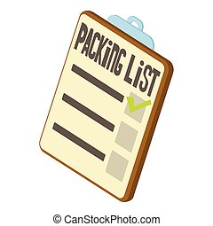 Packing list icon, isometric 3d style - icon. Cartoon...