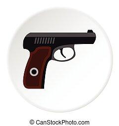 pistola, icono, plano, estilo