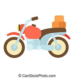 Motorcycle with boxes icon, cartoon style