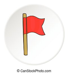 Red flag icon, cartoon style - icon. Cartoon illustration of...
