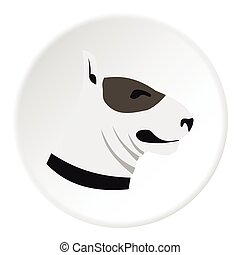 Bull terrier dog icon, flat style - Bull terrier dog icon....