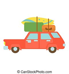 Red hatchback car with cargo luggage icon - icon. Cartoon...