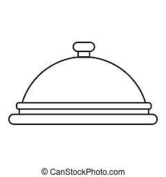 Cloche icon, outline style - Cloche icon. Outline...