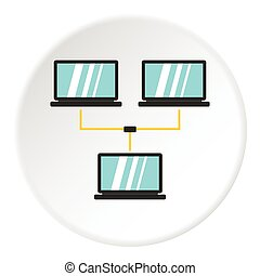 LAN icon, flat style - LAN icon. Flat illustration of LAN...