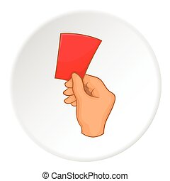 Referee showing red card icon, cartoon style