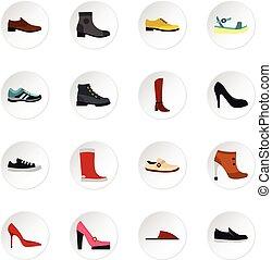 Shoe icons set, flat style - Shoe icons set. Flat...