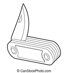 Penknife icon, isometric 3d style - icon. Outline...