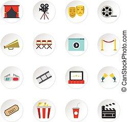 Cinema icons set, flat style - Cinema icons set. Flat...