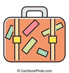 Brown travel suitcase with stickers icon - icon. Flat...