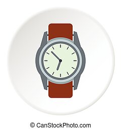 Wrist watch icon, flat style - Wrist watch icon. Flat...