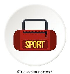 Sports bag icon, flat style - Sports bag icon. Flat...