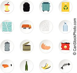 Garbage icons set, flat style - Garbage icons set Flat...