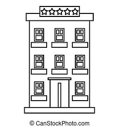 Hotel building five stars icon, outline style - Hotel...