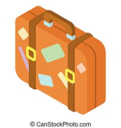Brown suitcase with stickers icon - icon. Cartoon...