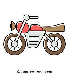 Motorcycle icon, flat style