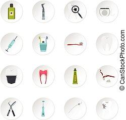 Stomatology icons set, flat style - Stomatology icons set...